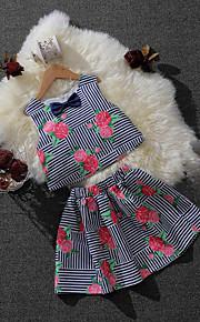 Mädchen Sets Lässig/Alltäglich Formal Urlaub Gestreift Blumen Baumwolle Sommer Ärmellos Kleidungs Set