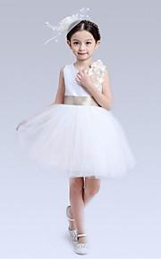 Ball Gown Short / Mini Flower Girl Dress - Organza Sleeveless Jewel with Bow(s) Flower(s) Sash / Ribbon