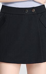 Damen Übergrössen Breites Bein Kurze Hosen Hose-Ausgehen Lässig/Alltäglich Einfach Niedlich einfarbig Perlenbesetzt Hohe Hüfthöhe Knopf