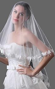 Свадебные вуали Один слой Фата до локтя Соборная фата Кружевная кромка Тюль