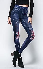 Damen Skinny Jeans Hose-Ausgehen Lässig/Alltäglich Einfach Street Schick Druck Hohe Hüfthöhe Reisverschluss Polyester Micro-elastisch