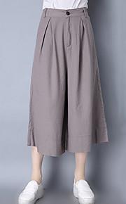 Damen Lose Breites Bein Chinos Hose-Lässig/Alltäglich Street Schick einfarbig Mittlere Hüfthöhe Knopf Elastizität Baumwolle Leinen