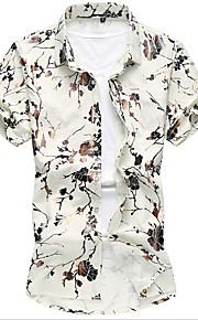 メンズ お出かけ カジュアル/普段着 秋 シャツ,シンプル シャツカラー プリント コットン 半袖 ミディアム