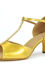 Zapatos de baile(Oro) -Latino-No Personalizables-Tacón Cuadrado