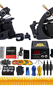 Complete Tattoo Kit 2 Pro Machine Power Supply Foot Pedal Needles Grips Tips TK251
