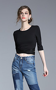 FRMZ Women's Casual/Daily Simple Spring Summer ShirtSolid Round Neck Long Sleeve Black Cotton