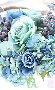 Свадебные цветы Круглый Каскадом Розы Букеты Свадьба Партия / Вечерняя Полиэфир 23 см