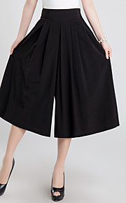 Damen Übergrössen Breites Bein Chinos Hose-Ausgehen Lässig/Alltäglich Vintage Niedlich einfarbig Gefaltet Hohe Hüfthöhe Elastizität Leinen