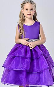 Prinzessin Knie-Länge Blumenmädchenkleid - Baumwolle Tüll Polyester Ohne Ärmel Schmuck mit Perlen Verzierung
