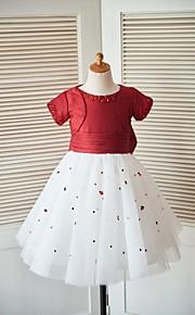 Prinzessin Knie-Länge Blumenmädchenkleid - Taft Tüll Kurze Ärmel Rundhalsausschnitt mit Perlstickerei Schleife(n) Pailletten
