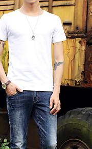 Hombre Simple Chic de Calle Activo Casual/Diario Vacaciones Noche Para Todas las Temporadas Camiseta,Escote Redondo Un Color Manga Corta
