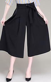 Damen Übergrössen Breites Bein Chinos Hose-Ausgehen Lässig/Alltäglich Einfach Niedlich einfarbig Schleife Gefaltet Hohe Hüfthöhe