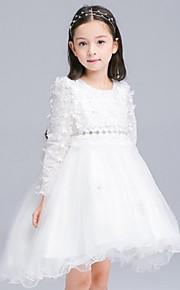 Ball Gown Asymmetrical Flower Girl Dress - Organza Long Sleeve Jewel with Appliques Sash / Ribbon