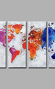 手描きの 抽象画 縦長,Modern 4枚 キャンバス ハング塗装油絵 For ホームデコレーション
