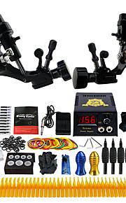 Complete Tattoo Kit 2 Pro Rotary Tattoo Machine Power Supply Needles Grips TK255