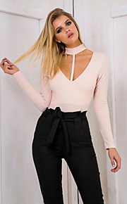 Women's Slim Rompers,Going out Casual/Daily Simple Street chic Color Block V Neck Short Sleeve Mid Rise Polyester Nylon Micro-elasticFall