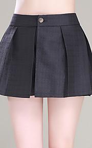 Damen Übergrössen Breites Bein Kurze Hosen Hose-Ausgehen Lässig/Alltäglich Einfach Niedlich einfarbig Gefaltet Hohe Hüfthöhe