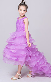 Ballkleid Asymmetrisch Blumenmädchenkleid - Baumwolle Spitze Polyester Ohne Ärmel Schmuck mit Kaskaden Rüschen