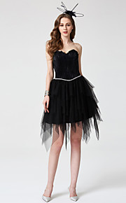 TS Couture Cocktail Party Dress - Little Black Dress Open Back Ball Gown Sweetheart Short / Mini Tulle with Beading Pleats