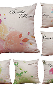 Set of 6 Sweet Flowers Pattern Linen Pillowcase Sofa Home Decor Cushion Cover  Throw Pillow Case (18*18inch)