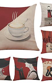Set of 6 Elegant Woman Pattern Linen Pillowcase Sofa Home Decor Cushion Cover  Throw Pillow Case (18*18inch)