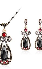 Set de Bijoux Pendentif de collier Boucles d'oreilles Mode euroaméricains Résine Strass Alliage Goutte1 Collier 1 Paire de Boucles
