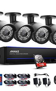 Annke® 4ch 4pcs 1080p videokamera vandtæt overvågningssikkerhed system intelligent timetable playback 1tb