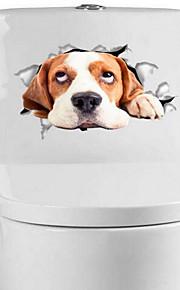 Dieren Muurstickers 3D Muurstickers Toiletstickers,Vinyl Materiaal Huisdecoratie Muursticker