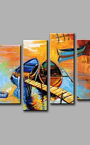 Maalattu Abstrakti Mikä tahansa muoto,Moderni 4 paneeli Kanvas Hang-Painted öljymaalaus For Kodinsisustus