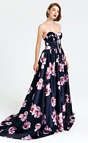 Formell kveld Kjole - mønster kjole A-linje Kjære Hoffslep Sateng med Plissert