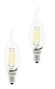 4W E14 Ampoules à Filament LED C35 4 COB 400 lm Blanc Chaud Blanc Gradable AC 100-240 V 2 pièces