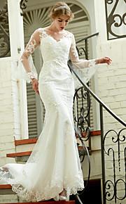 LAN TING BRIDE Havfrue Bryllupskjole - Chic og moderne Gjennomsiktige Hoffslep V-hals Blonder med Appliqué Knapp
