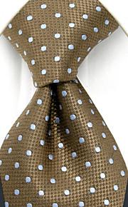 YXL16 Handmade Men's Necktie Brown White Dots 100% Silk Business Fashion Wedding For Men