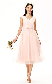 A-Line V-neck Tea Length Lace Tulle Bridesmaid Dress with Bow(s) Sash / Ribbon by Yaying
