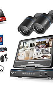 Sannce® 4ch 2 kameraer 720p lcd dvr weatherproof sikkerhedssystem understøttet analog ahd tvi ip kamera med 1tb hdd