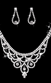 Women's Drop Earrings Choker Necklaces Bridal Jewelry Sets Rhinestone AAA Cubic Zirconia Vintage Elegant Jewelry Sets For Wedding Party Engagement