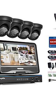 Sannce® 4ch 1080p lcd dvr sikkerhedssystem understøttet 720p analog ahd tvi ip kamera med 1tb hdd