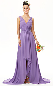 A-Line V-neck Asymmetrical Chiffon Bridesmaid Dress with Beading Side Draping Criss Cross Pleats by LAN TING BRIDE®