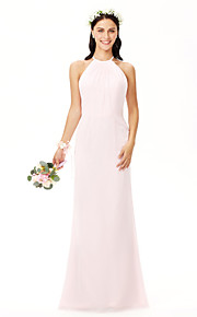 Sheath / Column Jewel Neck Floor Length Chiffon Bridesmaid Dress with Pleats by LAN TING BRIDE®