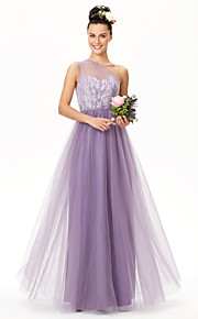 A-Line One Shoulder Floor Length Lace Tulle Bridesmaid Dress with Lace Sash / Ribbon Pleats by LAN TING BRIDE®