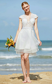 Trapèze Col en V Mi-long Tulle Robe de mariée avec Billes Appliques Ceinture / Ruban par LAN TING BRIDE®