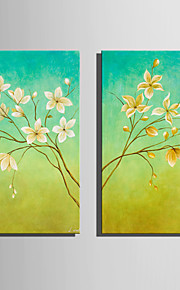 Mini Size E-HOME Oil painting Modern White Flowers In Full Bloom Pure Hand Draw Frameless Decorative Painting Set of 2