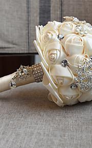 Bouquet sposa Bouquet Matrimonio Con perline Pizzo 18 cm ca.