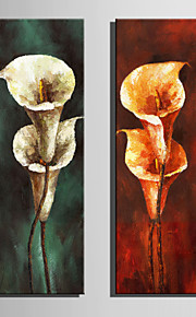 Mini Size E-HOME Oil painting Modern Calla Lily In Bloom Pure Hand Draw Frameless Decorative Painting Set of 2