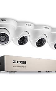 Zosi® 4ch 1080p fuld HD-video sikkerhedssystem med 4x 2.0mp 1080p vejrfaste dome kameraer 1tb harddisk