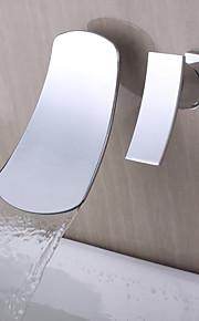 Moderne Moderner Stil 3-Loch-Armatur Wasserfall Wand with  Keramisches Ventil Einzigen Handgriff Zwei Löcher for  Chrom , Waschbecken