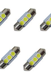 5pcs verduisterde led lichten 31mm 1w 3smd 5050 chip 80-100lm 6500-7000k dc12v leeslamp nummerplaat lichten