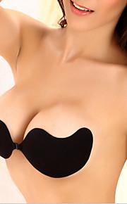 Sommer stroppeløs bras sexy kvinner fest usynlig bh kiselgel lim lim brystforsterker lav kutt bakfri mango svart