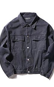 Bomull Normal Langermet,Skjortekrage Denimjakker Ensfarget Høst Gatemote Ut på byen Herre