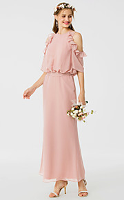 Sheath / Column Jewel Neck Ankle Length Chiffon Bridesmaid Dress with Sash / Ribbon Ruffles by LAN TING BRIDE®